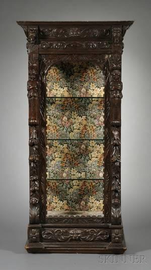 Renaissance Revival Carved Oak Display Cabinet