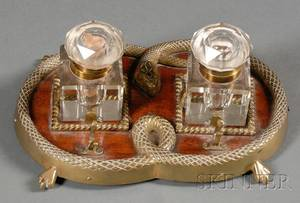 Victorian Brassmounted Mahogany and Twobottle Inkstand