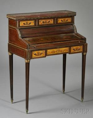 Louis XVI Style Painted and Brassmounted Mahogany and Marbletop Ladies Desk