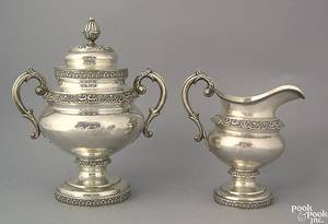 Philadelphia silver covered sugar and creamer ca 1835