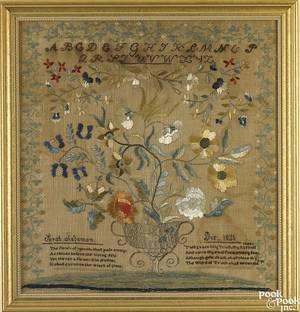 American silk on linen sampler dated 1821