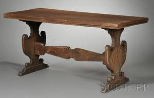 Italian Renaissance Walnut Trestle Table