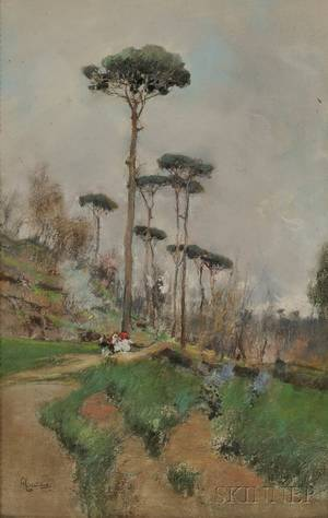 Giuseppe Casciaro Italian 18631945 Lot of Three Landscapes Pines Figures on a Country Road