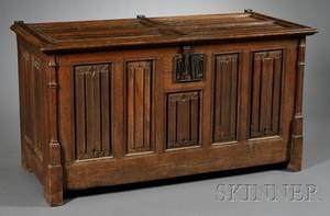 Gothicstyle Oak and Wroughtiron Mounted Coffer