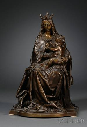 Continental Bronze Renaissancestyle Figure of the Madonna and Child Enthroned