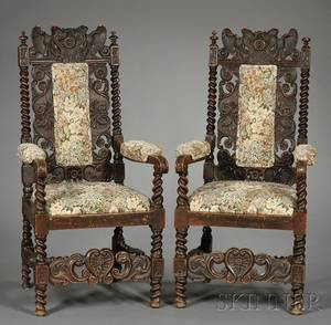 Pair of Renaissance Revival Carved Oak Armchairs
