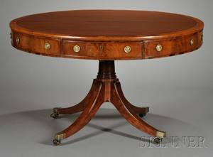 Regency Crossbanded Mahogany Drum Table