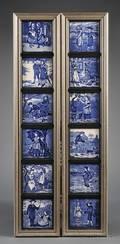 Set of Twelve Wedgwood Blue Transfer Printed Month Tiles