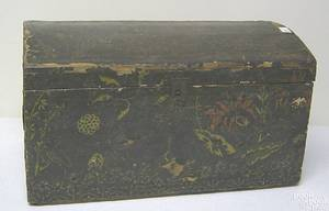 Dome lidded wallpaper box with printed Ritter birth certificate inside lid