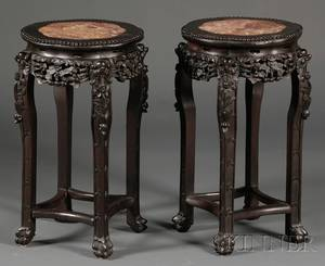Pair of Rosewood Marbletop Stands