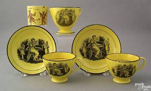 Canary transfer decorated tableware to include 2 cups and saucers