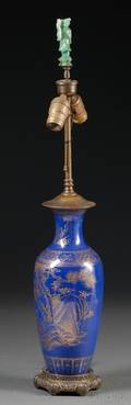 Blue Vase Mounted as a Lamp