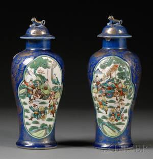 Pair of Famille Verte and BlueGlazed Covered Vases