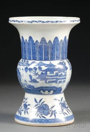 Blue and White Beaker Vase