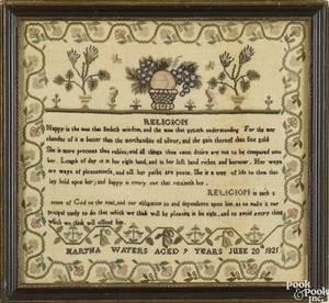 English silk on linen sampler dated 1821