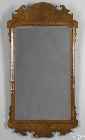 Large George II burlwood veneer looking glass ca 1750
