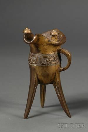 Giltbronze Archaistic Wine Vessel Jue