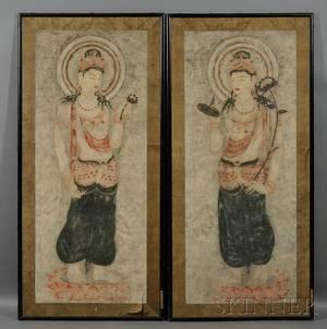 Pair of Framed Panels of Bodhisattva