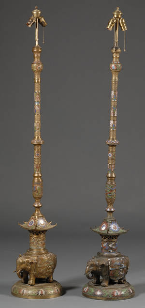 Pair of Tall Champlev Lamp Stands