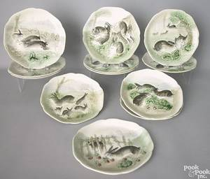 Six majolica rabbit plates late 19th c