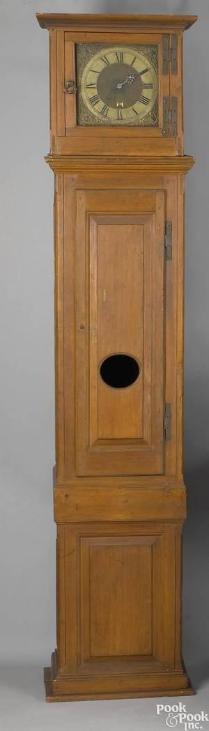Philadelphia Queen Anne pine tall case clock ca 1755