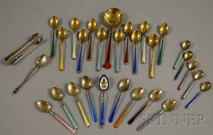 Group of Enameled Silver Spoons