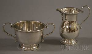 TwoPiece BM Sterling George II Style Creamer and Open Sugar Bowl