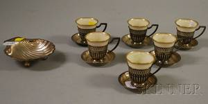 Set of Six Silver Framed Demitasse Cups with Lenox Liners and Other Silver Items