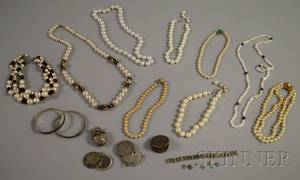 Group of Silver and Pearl Costume Jewelry