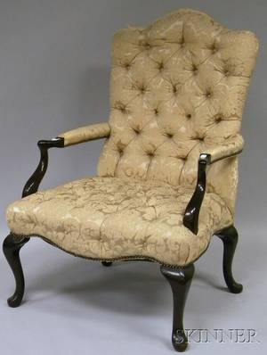 Queen Anne Style Upholstered Mahogany Library Armchair