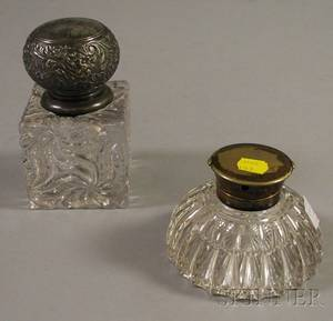 Baccarattype Colorless Molded Glass Inkwell and a Cross London Colorless Cut Glass Inkwell
