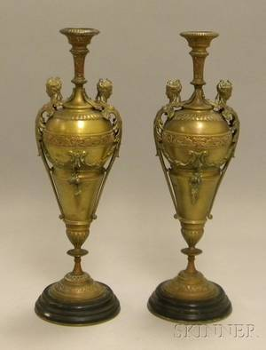 Pair of Victorian Renaissance Revival Bronze Garnitures with Black Marble Bases