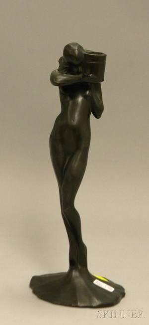 Arthur von Frankenberg Art Deco Patinated Cast Metal Sculpture of a Woman with Jar