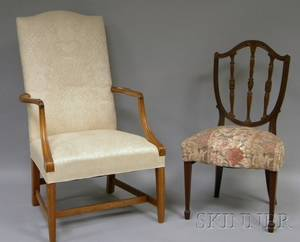 Federalstyle Upholstered Carved Mahogany Lolling Chair and George III Style Upholstered Cared Mahogany Shieldback Side Chair
