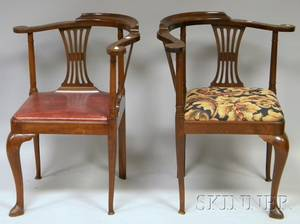 Pair of Queen Anne Style Carved Mahogany Roundabout Chairs