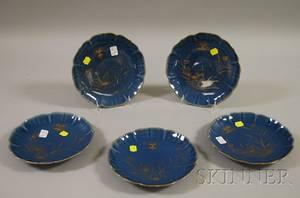 Set of Five Asian Gilt Decorated Blue Glazed Porcelain Dishes