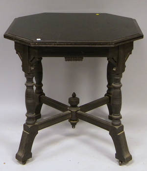 Victorian Eastlaketype Octagonal Ebonized Carved Wood Center Table