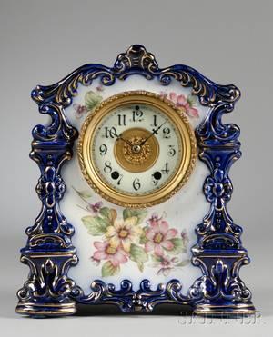 Porcelain Mantel Clock by the Waterbury Clock Company