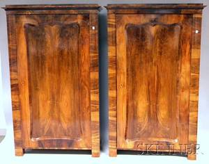 Pair of Continental Neoclassical Mahogany Veneer Linen Cabinets
