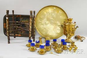 Russian Brass Samovar a Persian Brass Coffee Service with a Circular Brass Tray on Motherofpearlinlaid Wooden Stand and a Paint