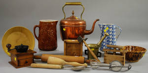 Group of Assorted Ceramic Wooden and Metal Kitchen Items