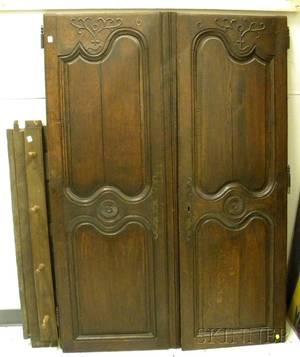 French Provincial Carved Oak TwoDoor Armoire