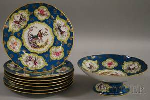 Victoria Ornithological and Floral Decorated Porcelain Fruit Compote and Set of Seven Plates