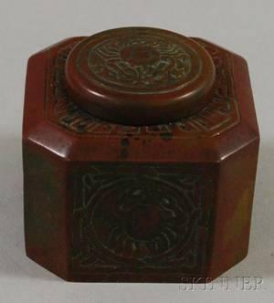Tiffany Studios Bronze Zodiac Pattern Inkwell