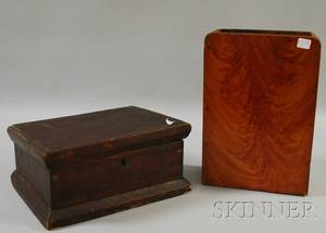 Grain Painted Wooden Wall Box and a Brown Stained Wooden Lidded Box