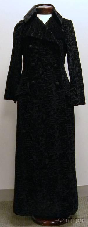 Bill Blass Black Patterned Fulllength Evening Coat