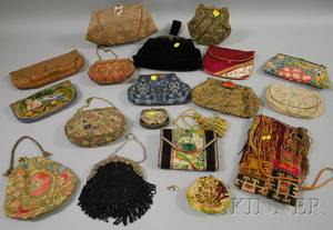 Large Group of Vintage Embroidered Tapestry and Beaded Purses