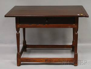 Brownpainted William  Mary Pine Breadboardtop Maple Tavern Table with Drawer