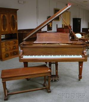 Steinway  Sons Mahogany Baby Grand Piano with Bench