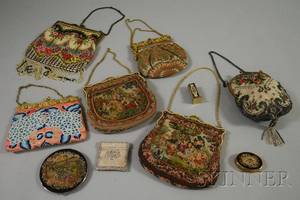 Group of Vintage Embroidered and Beaded Evening Bags and Ladys Accessories